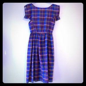 Vintage Plaid Midi Short-sleeve A-Line Dress EUC